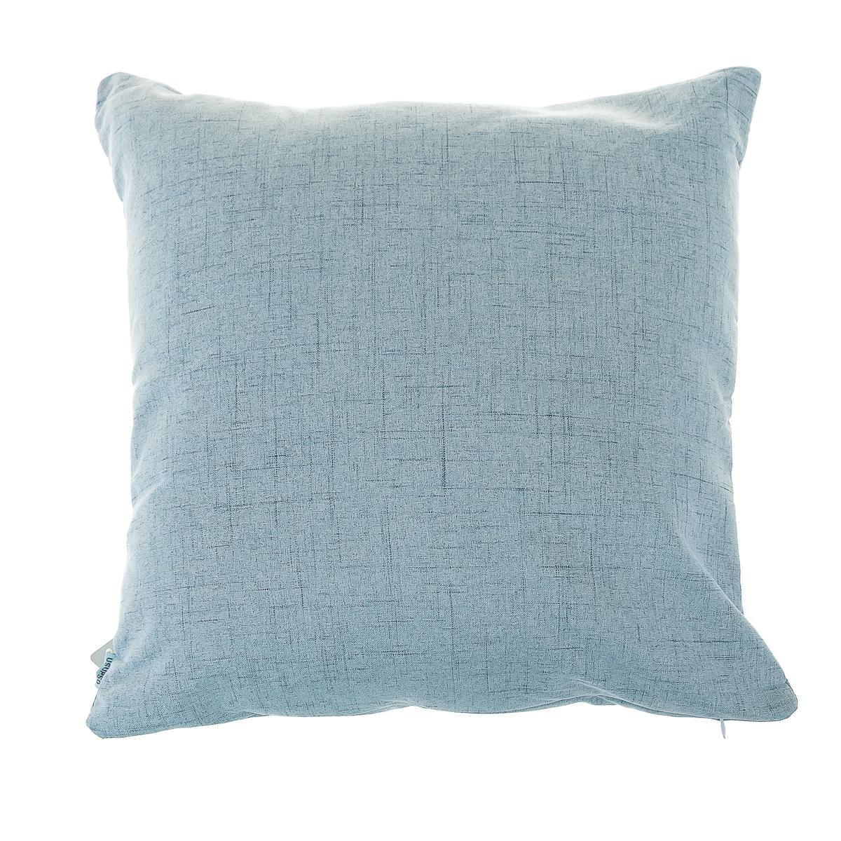 Подушка диванная льняная, голубая