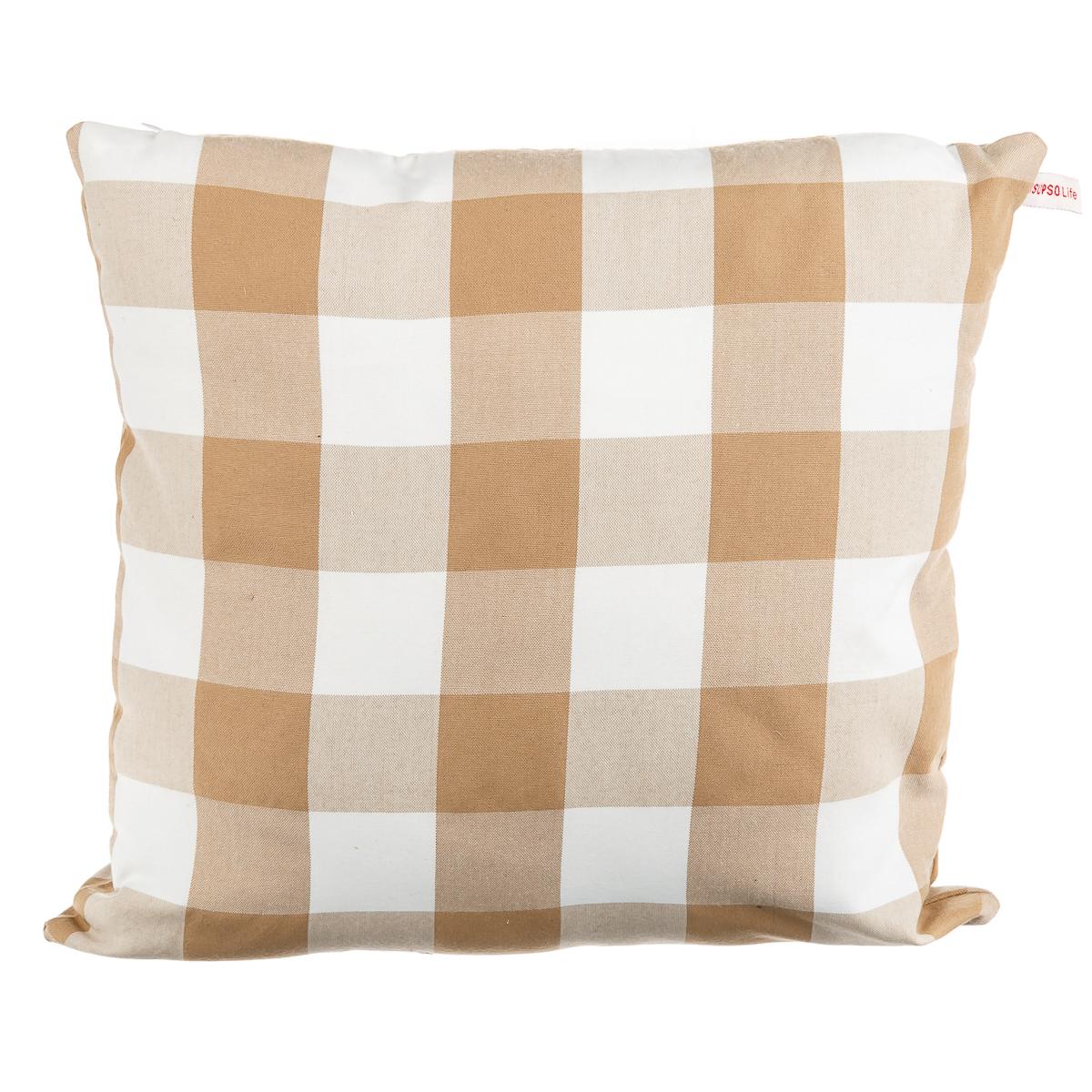 Подушка диванная голубая в крупный белый горох