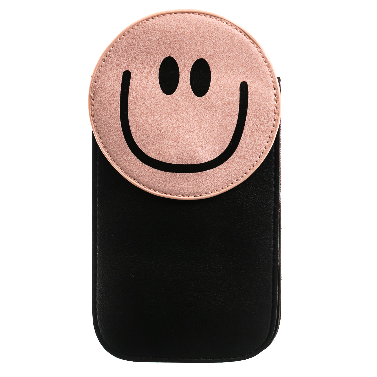 Сумочка для мобильного, длинная, со смайликом - розовая