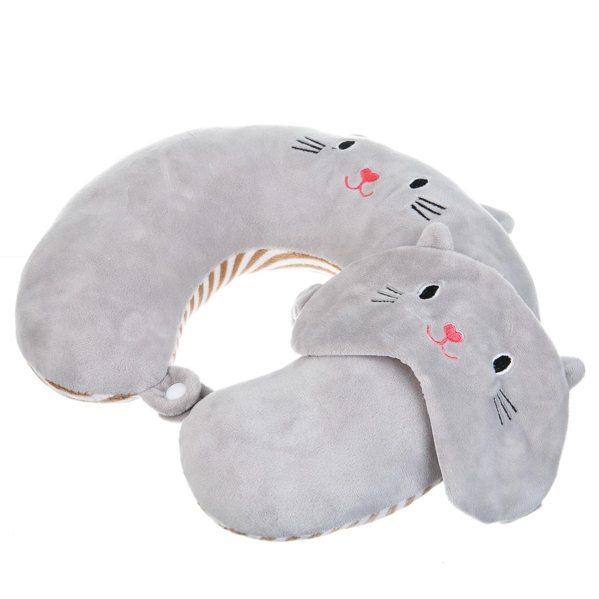 Подушка для путешествий с повязкой на глаза серая с котиком