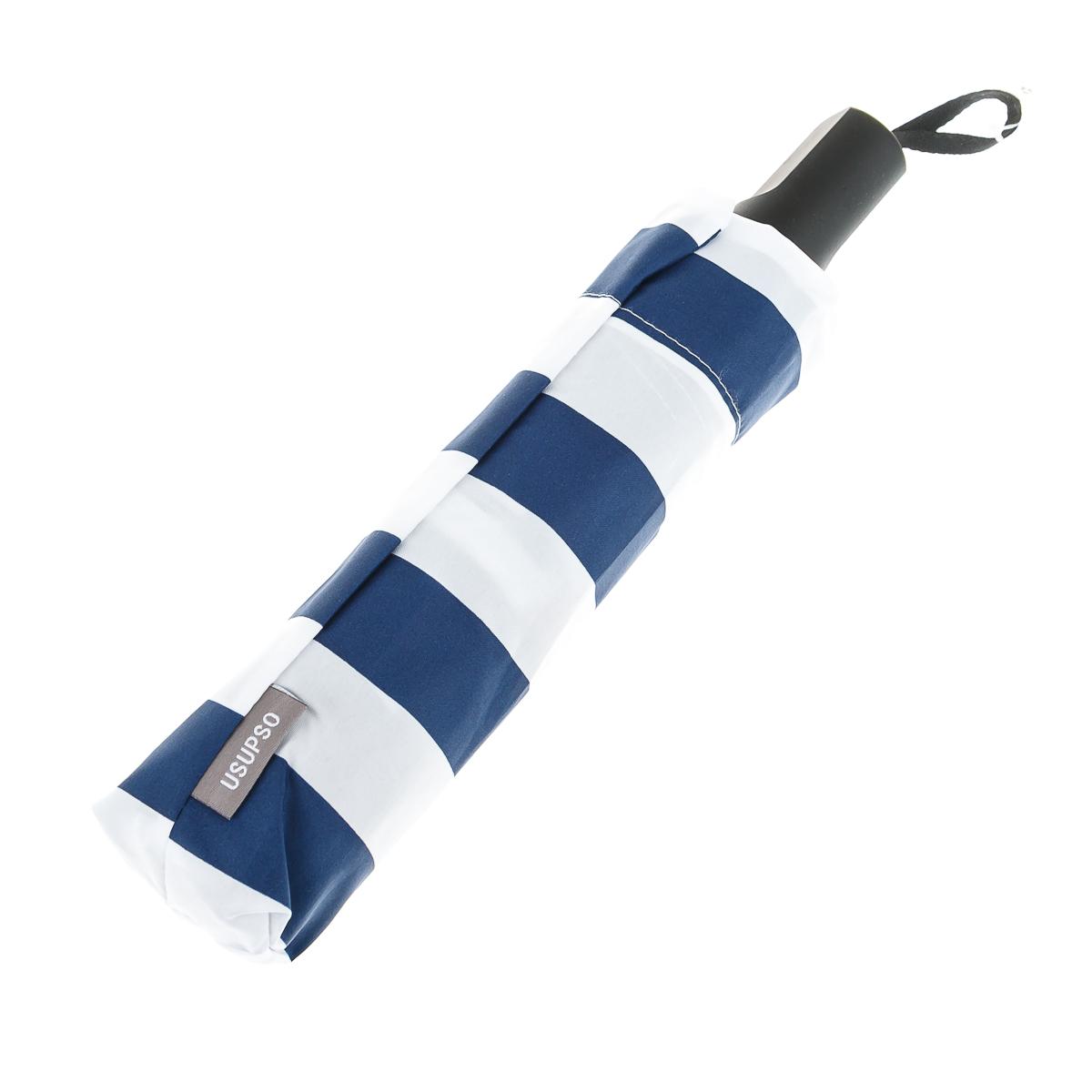 Зонт складной в бело-синюю полоску
