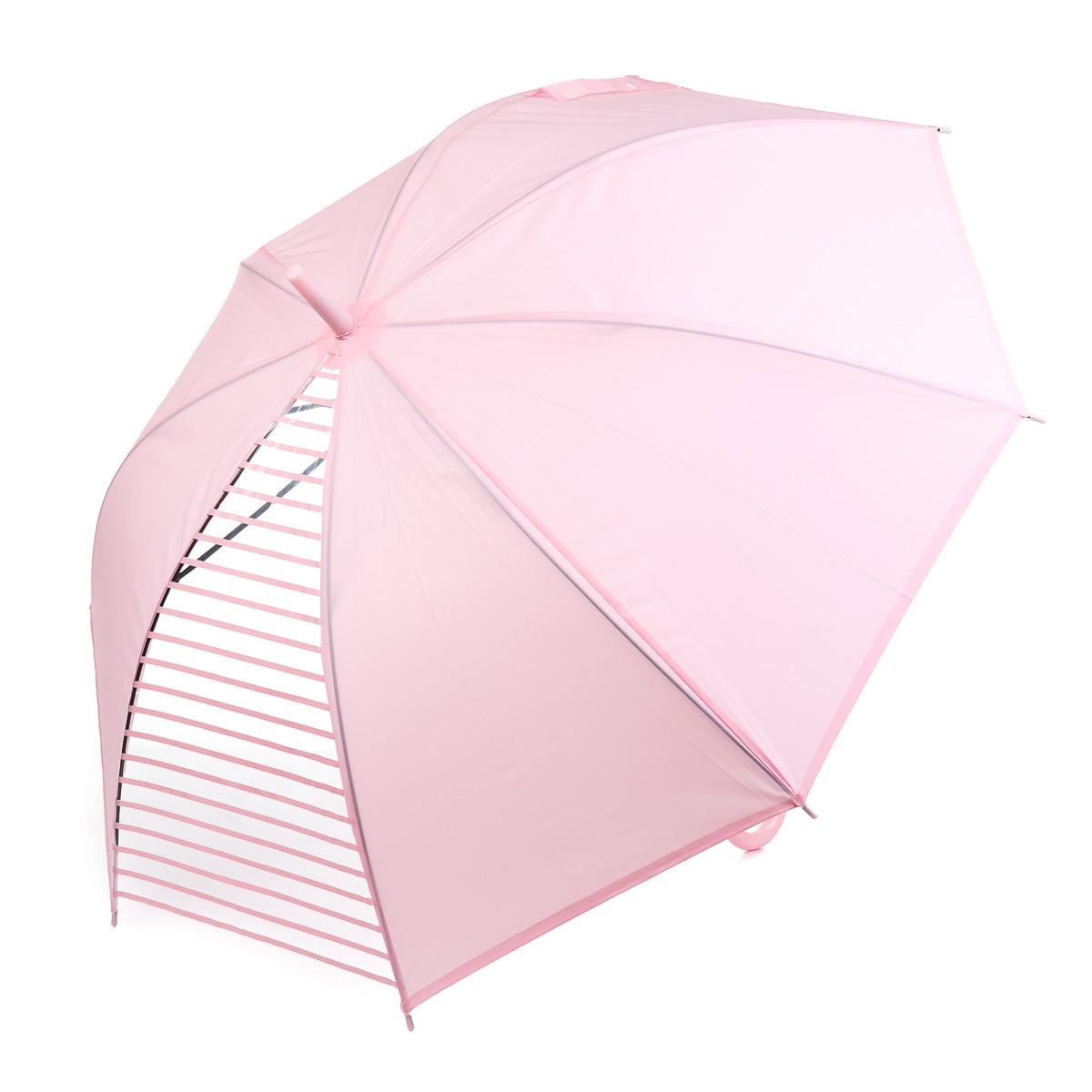 Зонт-трость розовый с прозрачной секцией