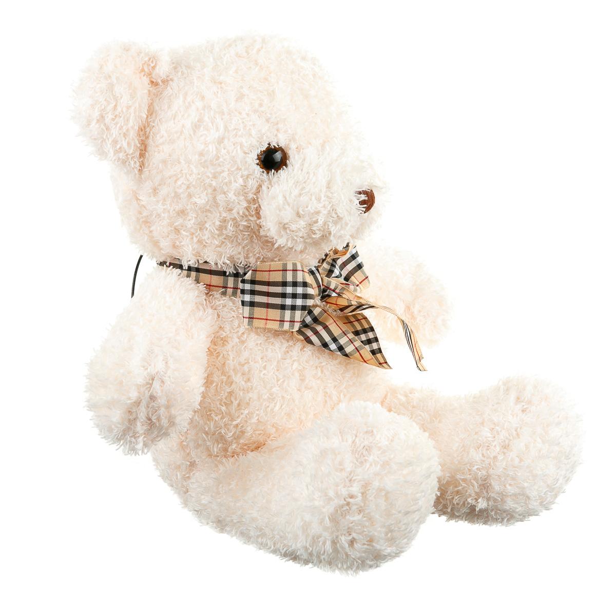 Игрушка мягкая медведь с бантиком бежевый