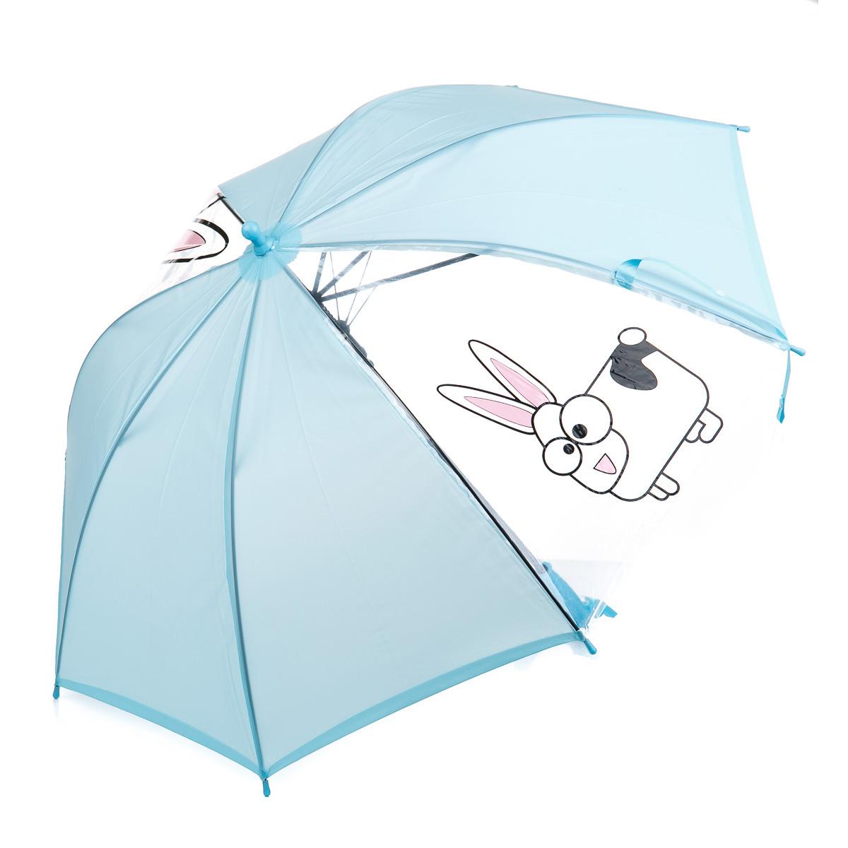 Зонт-трость голубой с прозрачными секциями и зайцами