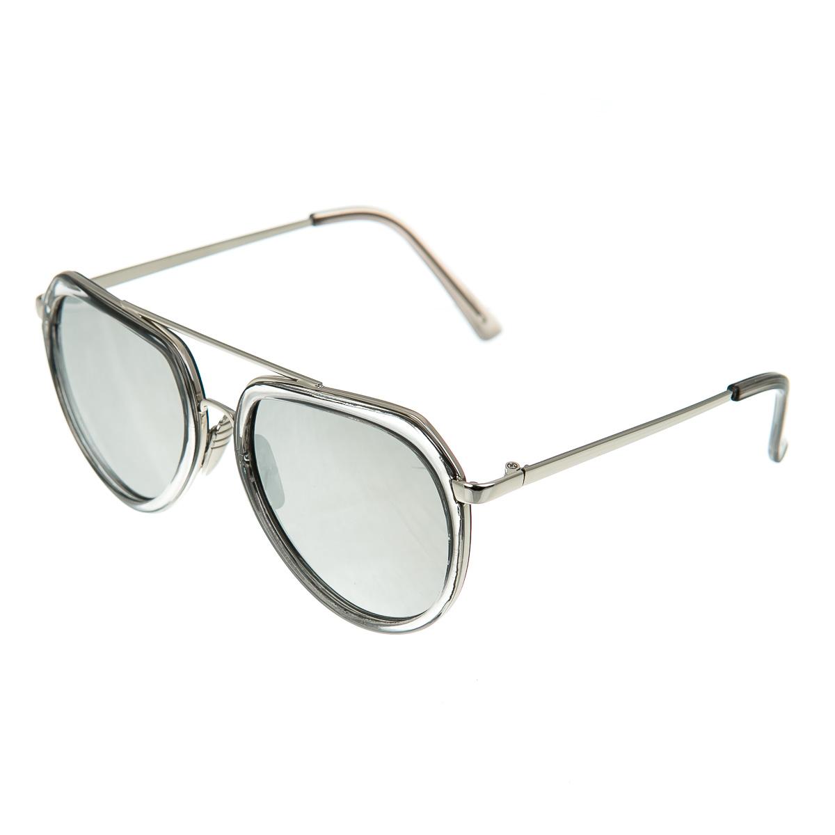 Очки в прозрачной оправе с тонкими дужками металлик с серыми стеклами