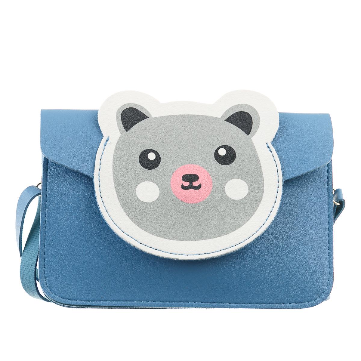 Сумка для телефона синяя горизонтальная серый медведь