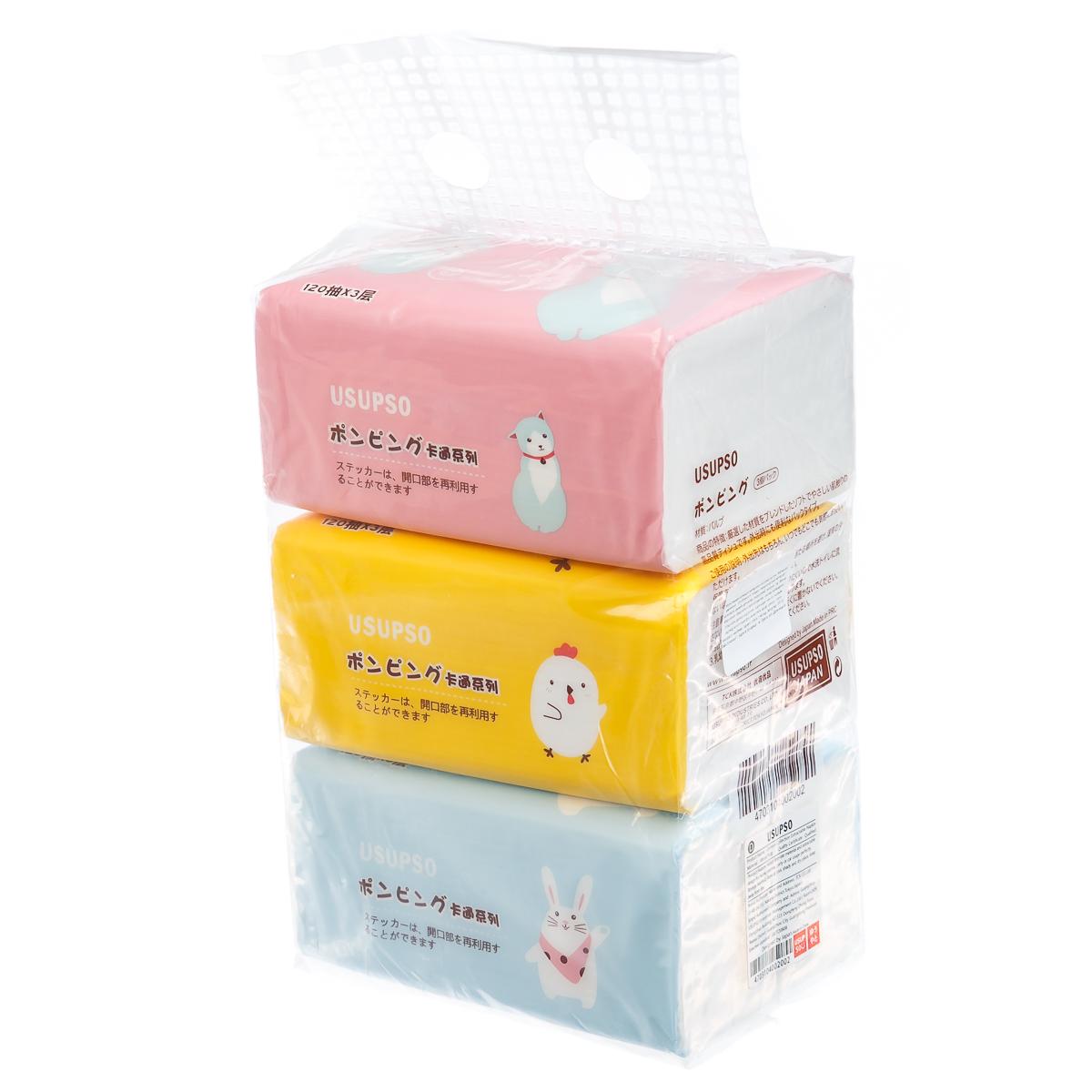 Бумажные носовые платочки, салфетки, мультяшный рисунок, 3 упаковки
