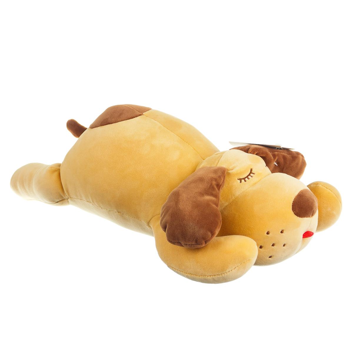 Игрушка мягкая собака лежачая коричневая