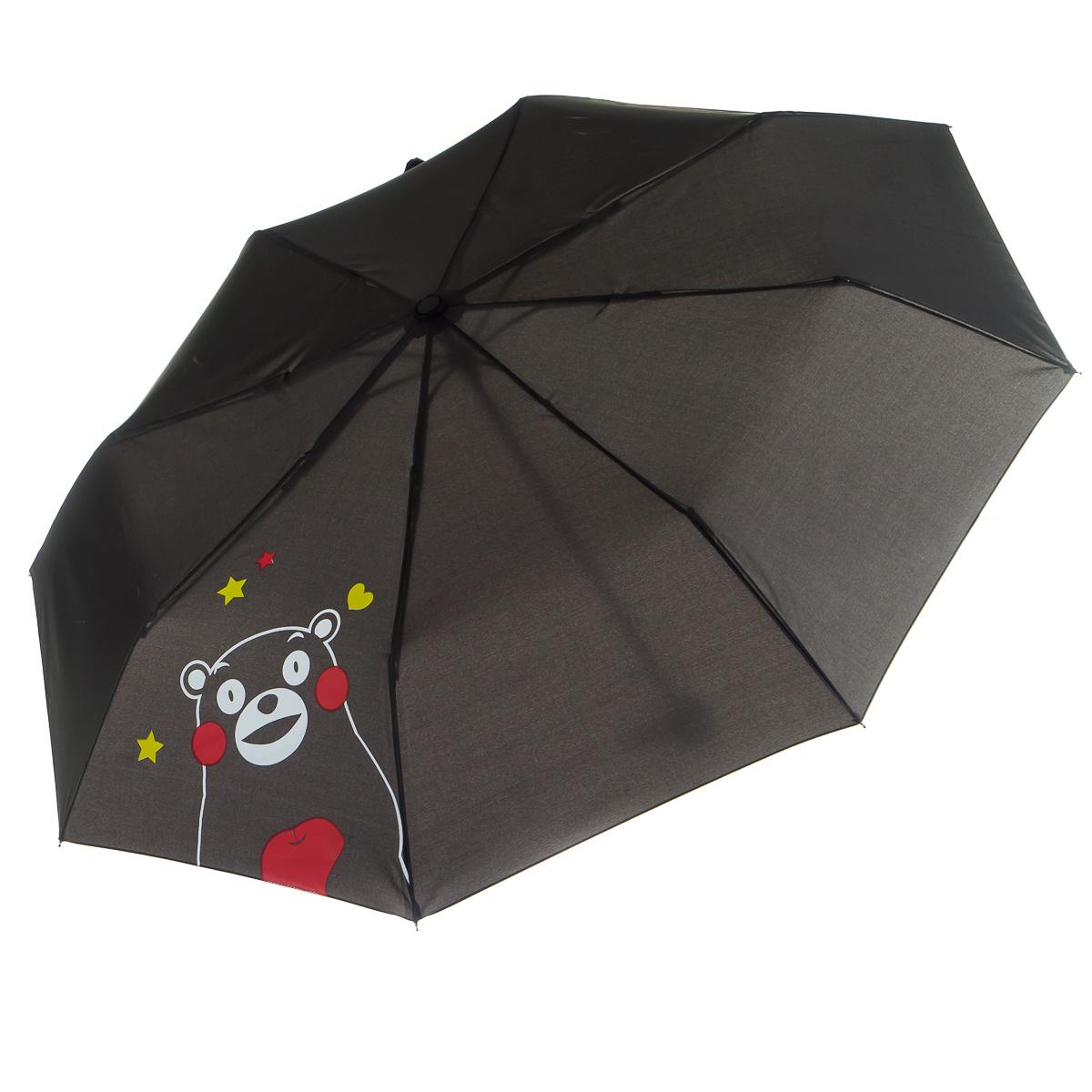 Зонт складной черный Кумамон