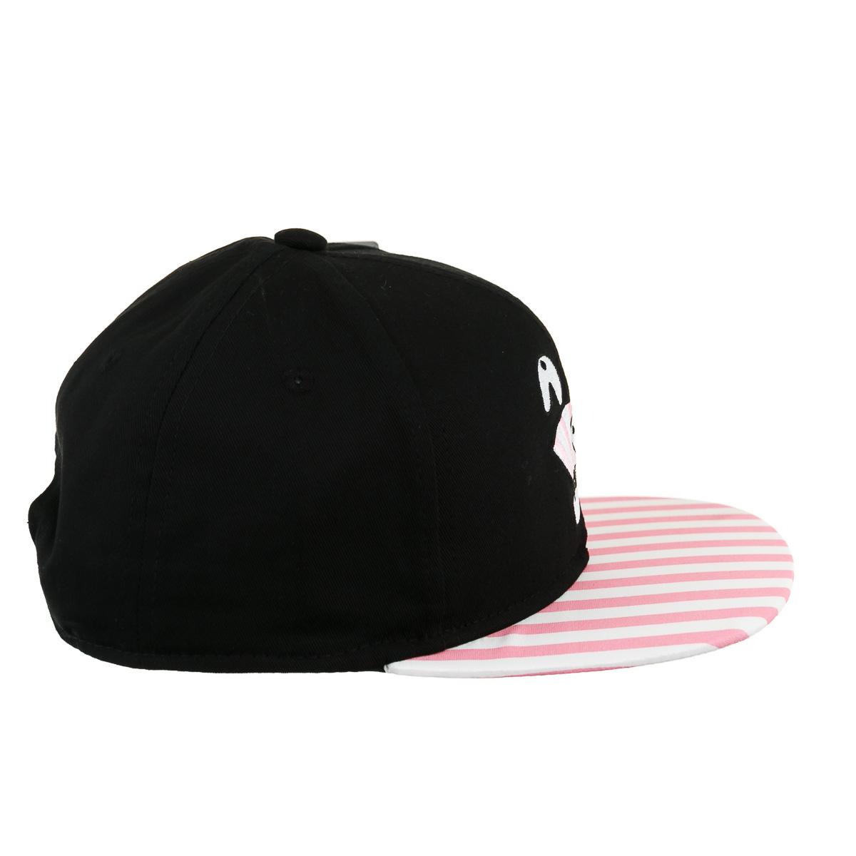 Снепбек черный с розово-белыми полосками на козырьке