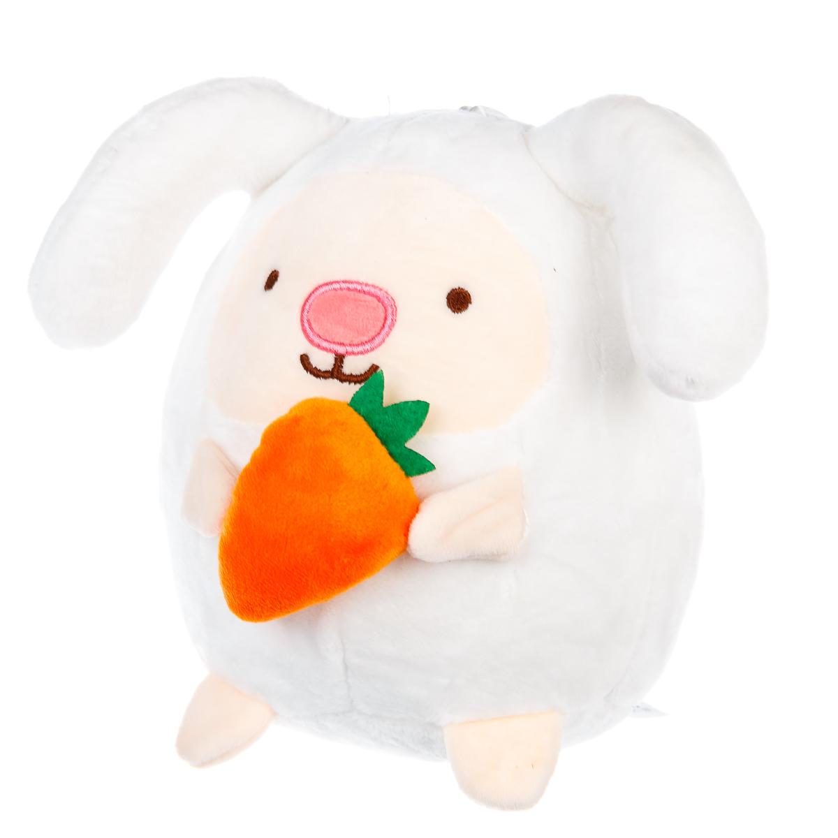 Мягкая игрушка Анимашный заяц с морковкой, цвет белый