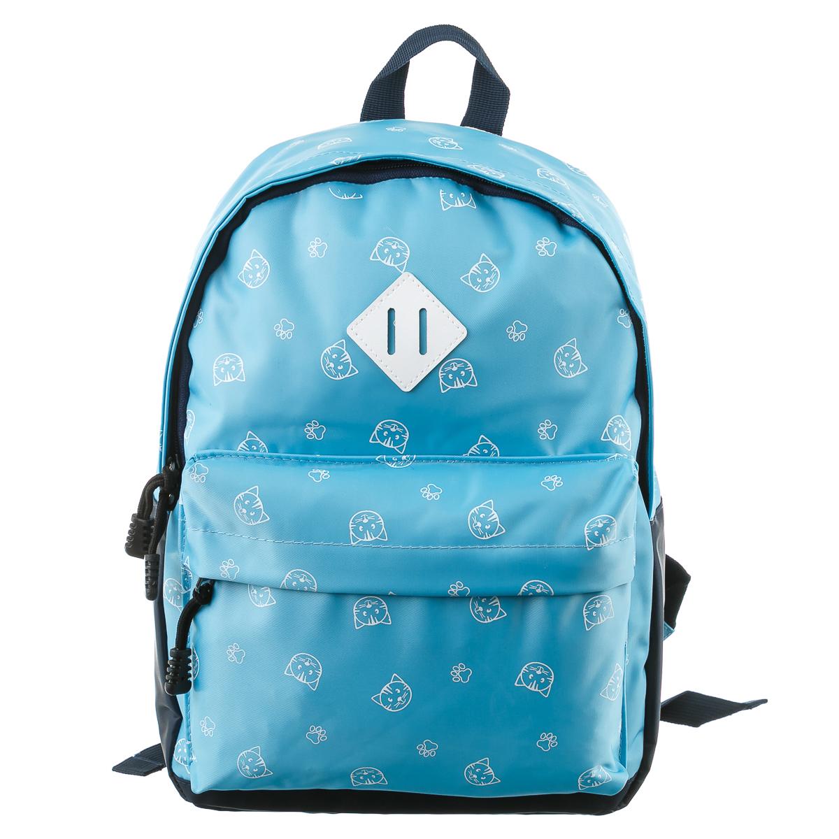 Рюкзак голубой с мордочками кошек