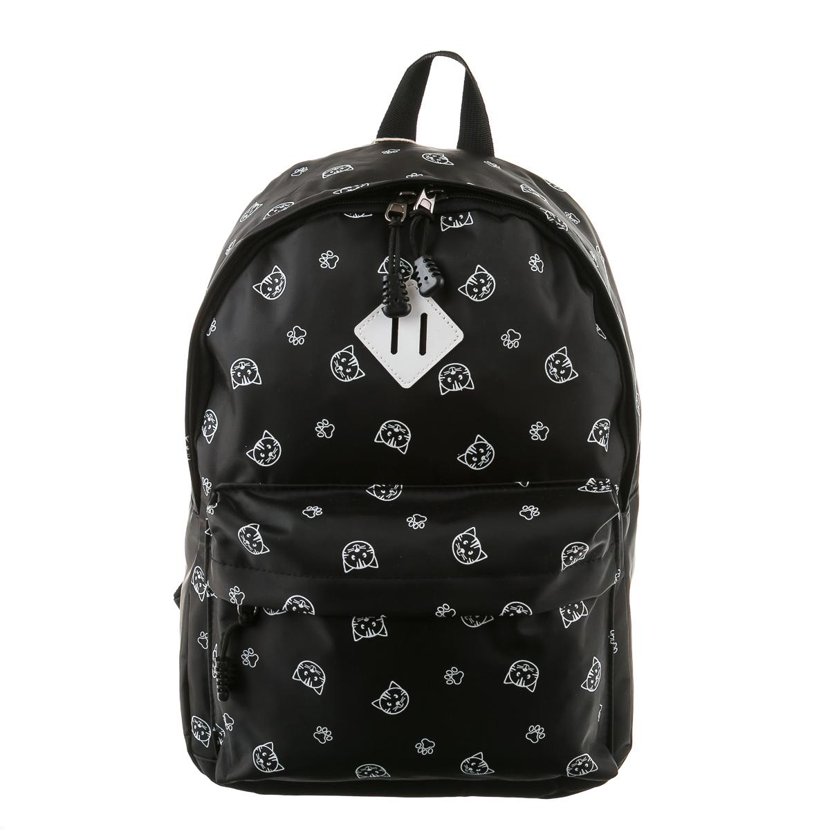 Рюкзак черный с мордочками кошек