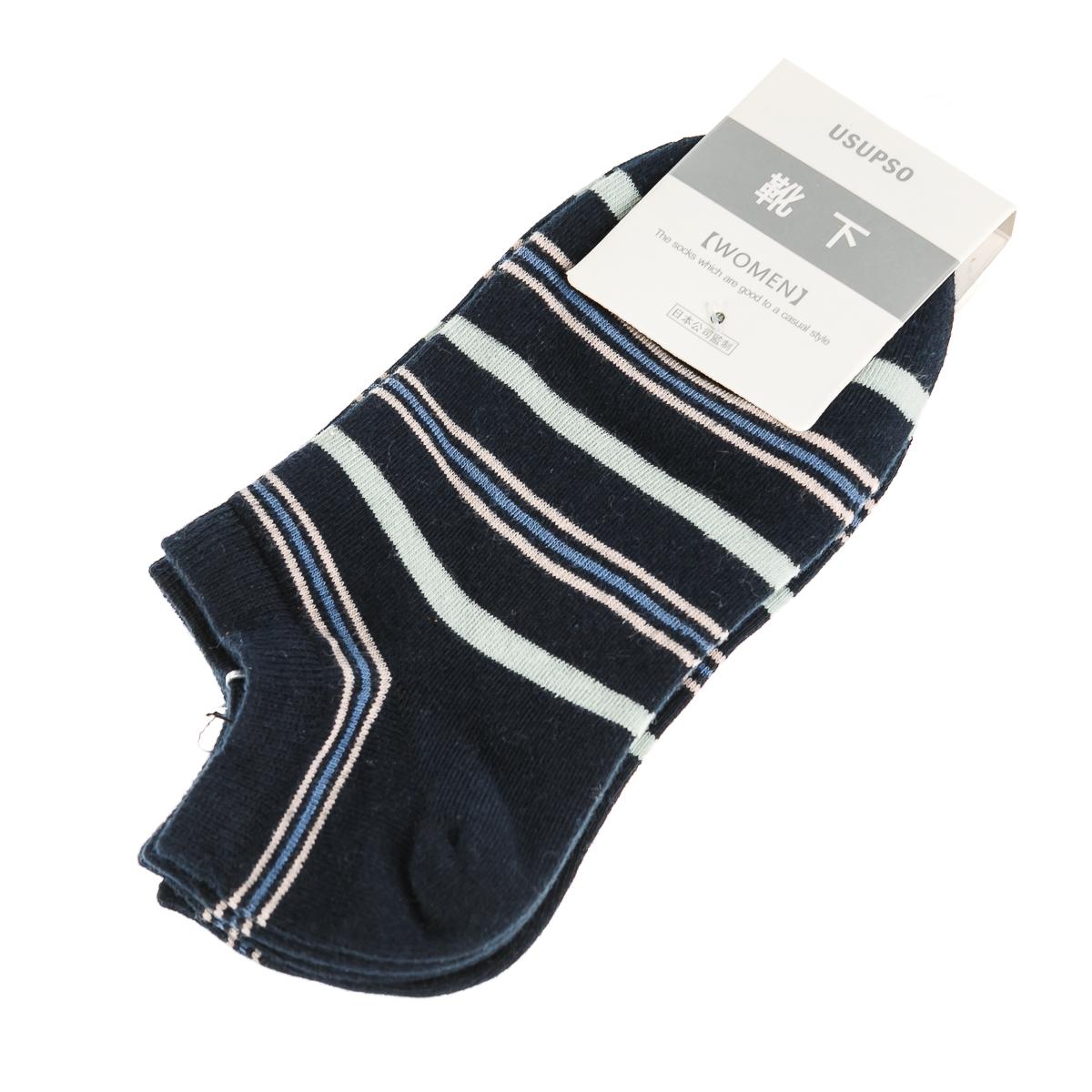 Женские короткие носки, в полоску, пестрые, 2 пары