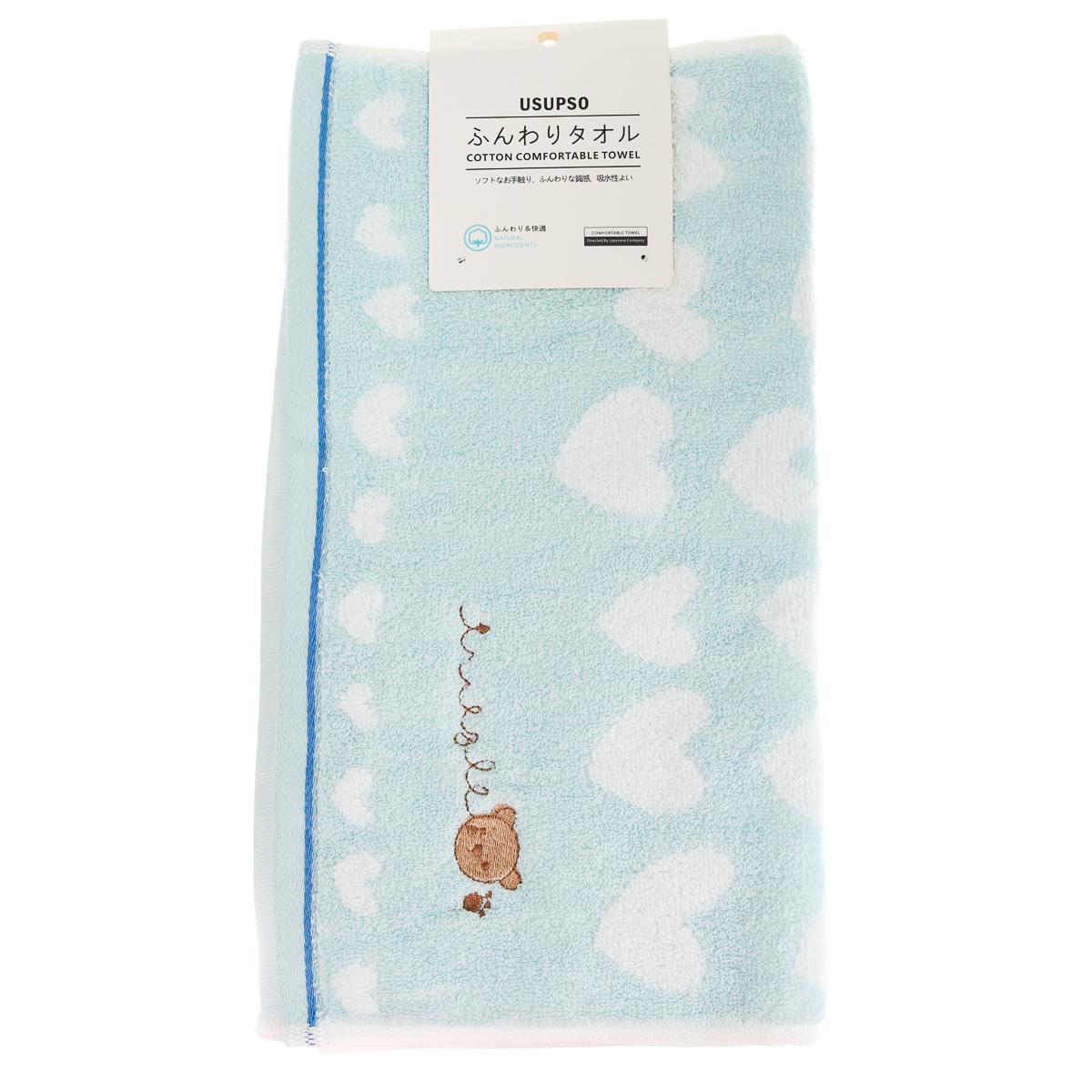 Полотенце голубое с белыми сердечками