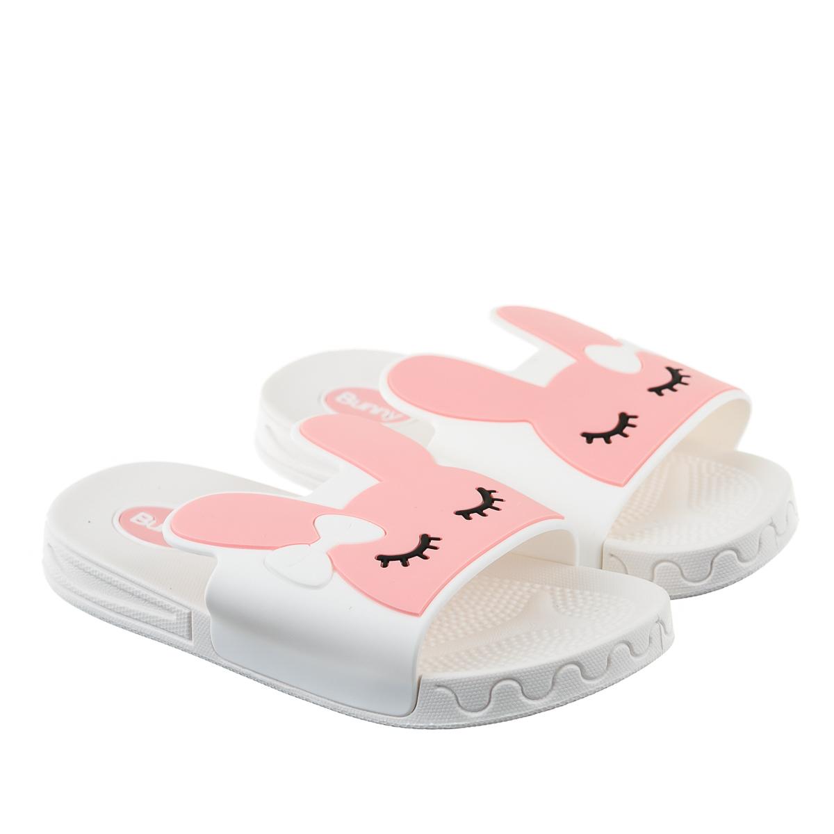 Тапочки для детей белые зайчики резиновые