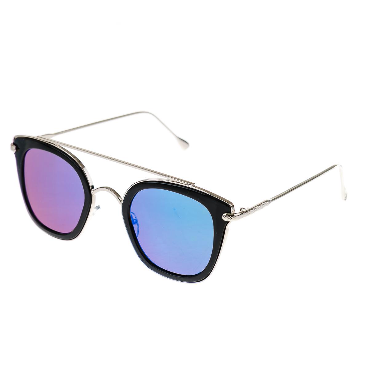 Очки в черной оправе с металлическими дужками и цветным стеклом
