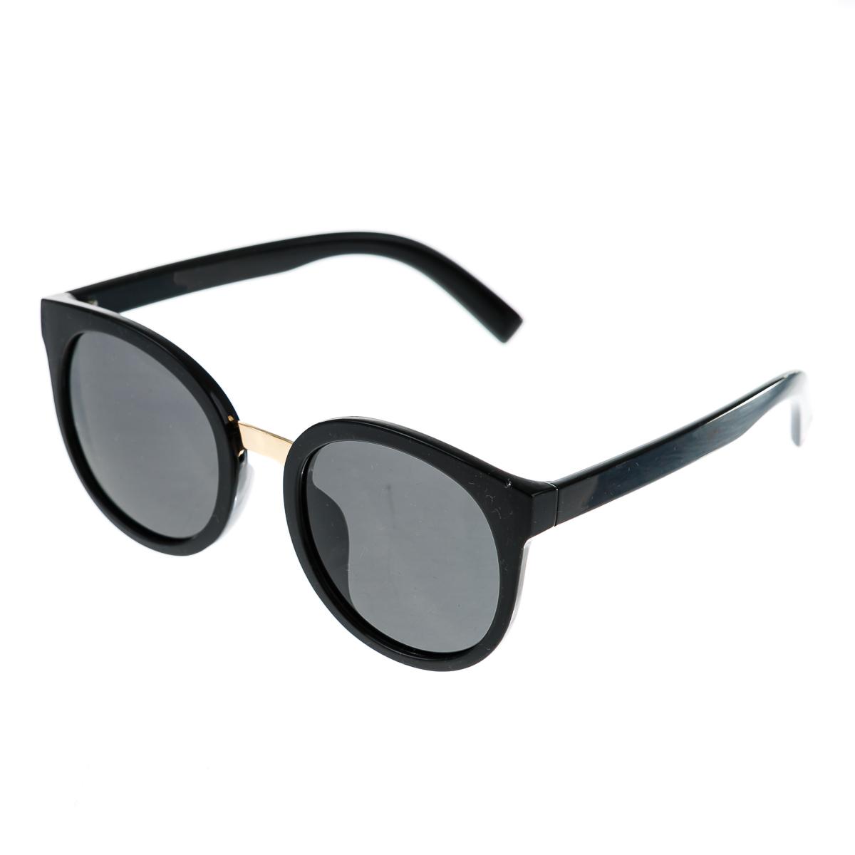 Очки в черной толстой оправе с золотой перепонкой с темными стеклами и толстыми черными дужками