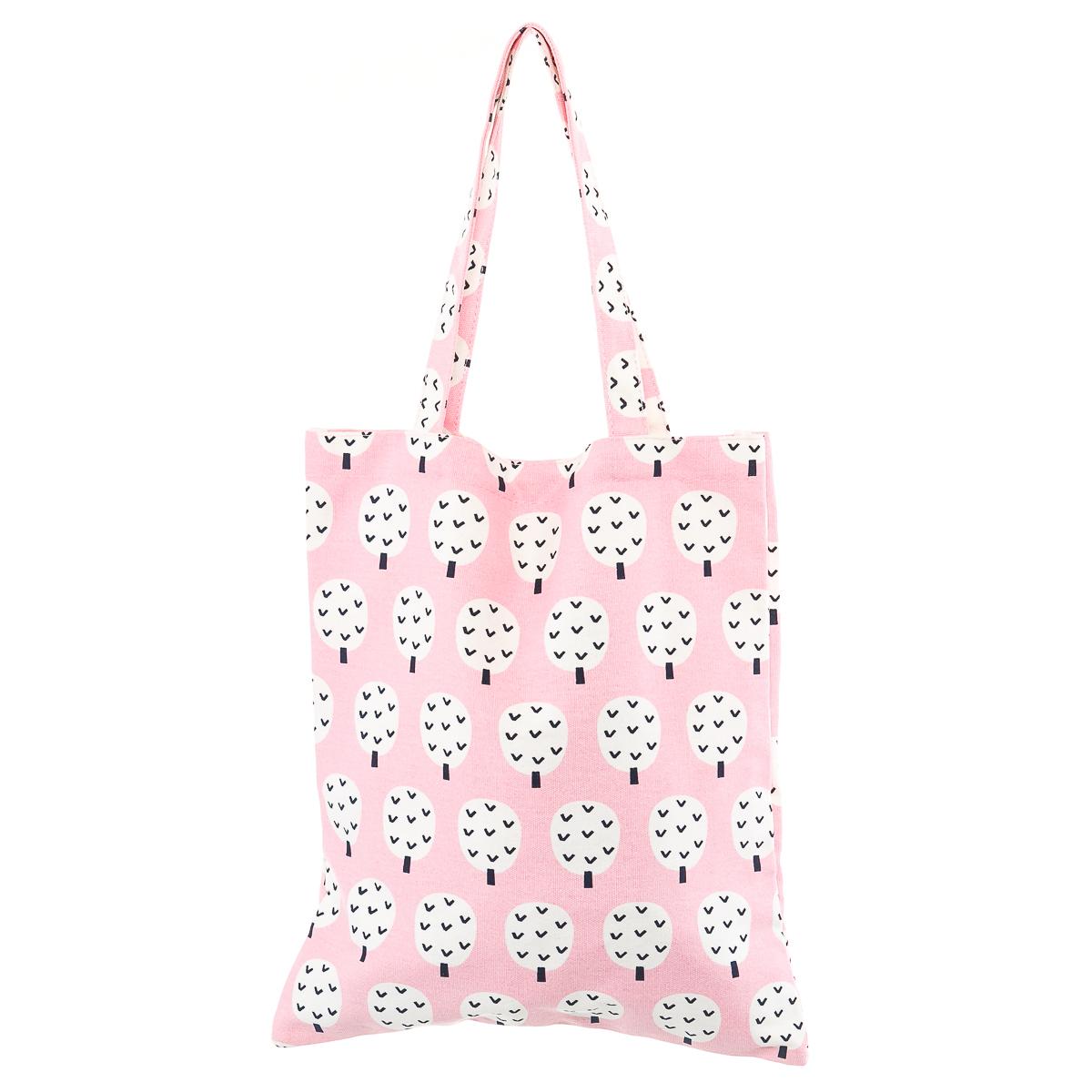 Парусиновая сумка розовая с деревьями