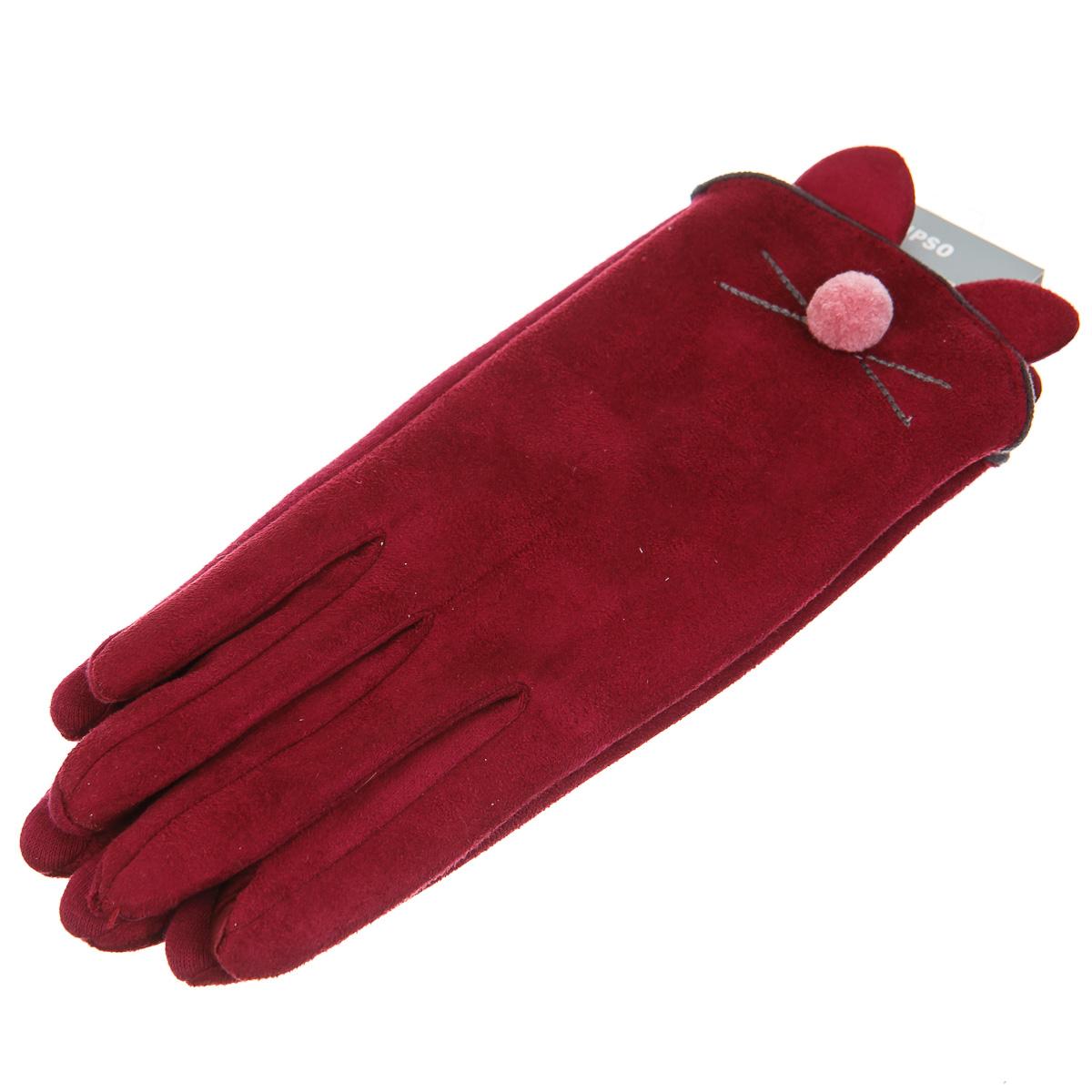 Перчатки красные с котиком