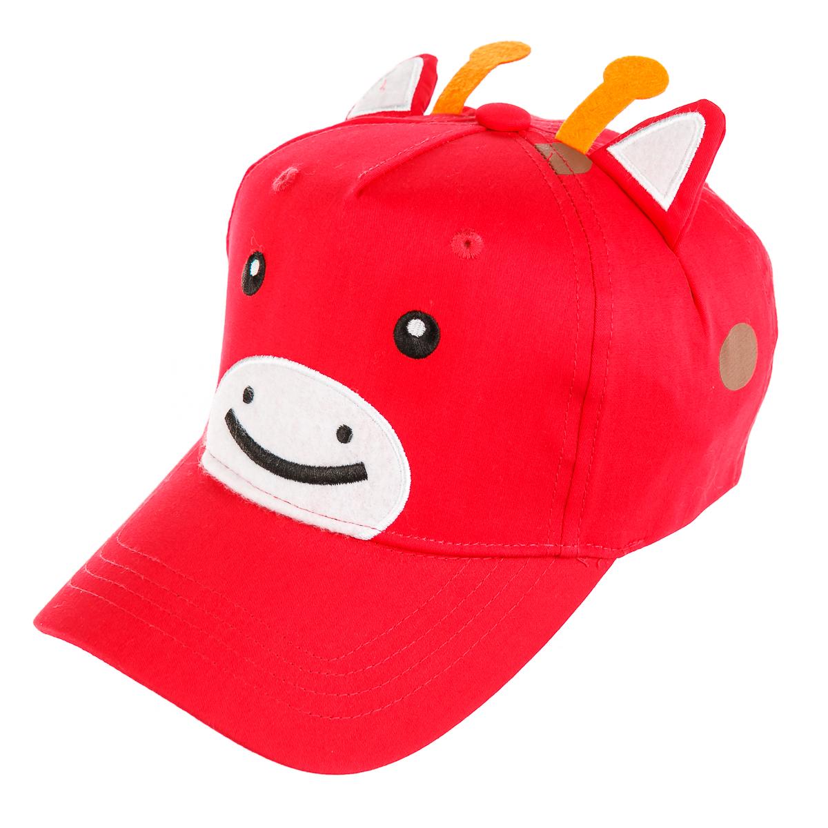 Детская кепка для прогулки, с ушками, красная