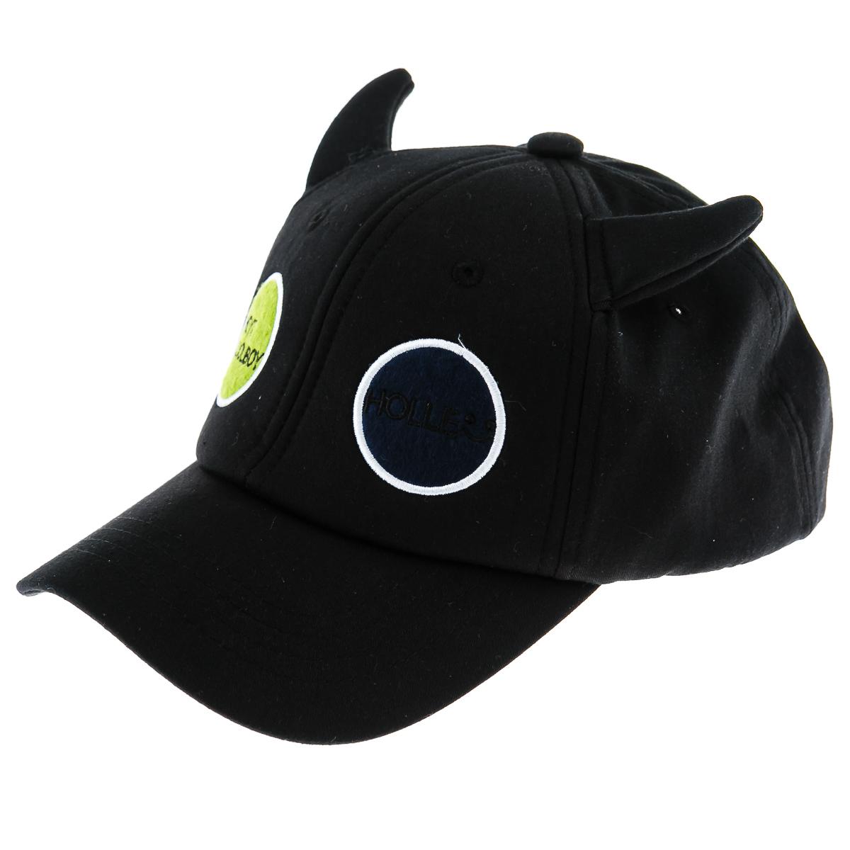 Кепка детская черная с ушками и двумя кругами