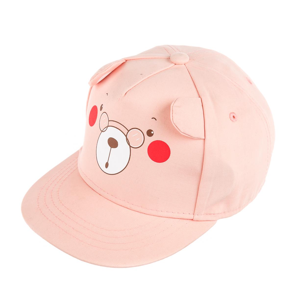Детская кепка для прогулки, с ушками, мишка, розовая