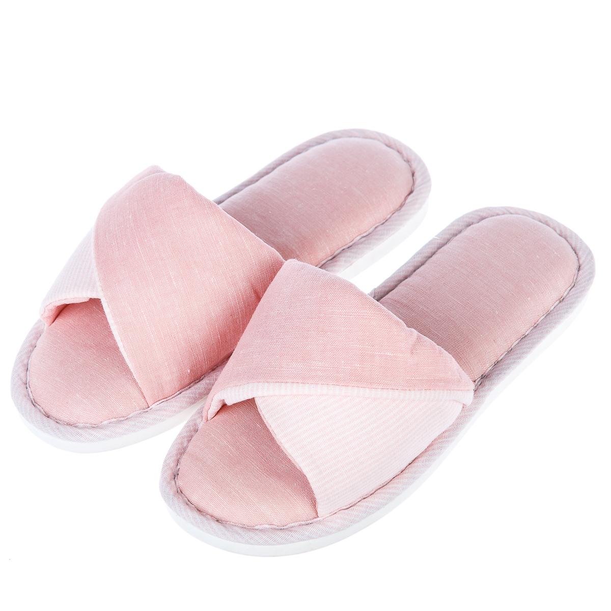 Тапочки домашкие мягкие двухцветные р.37-38 розовые