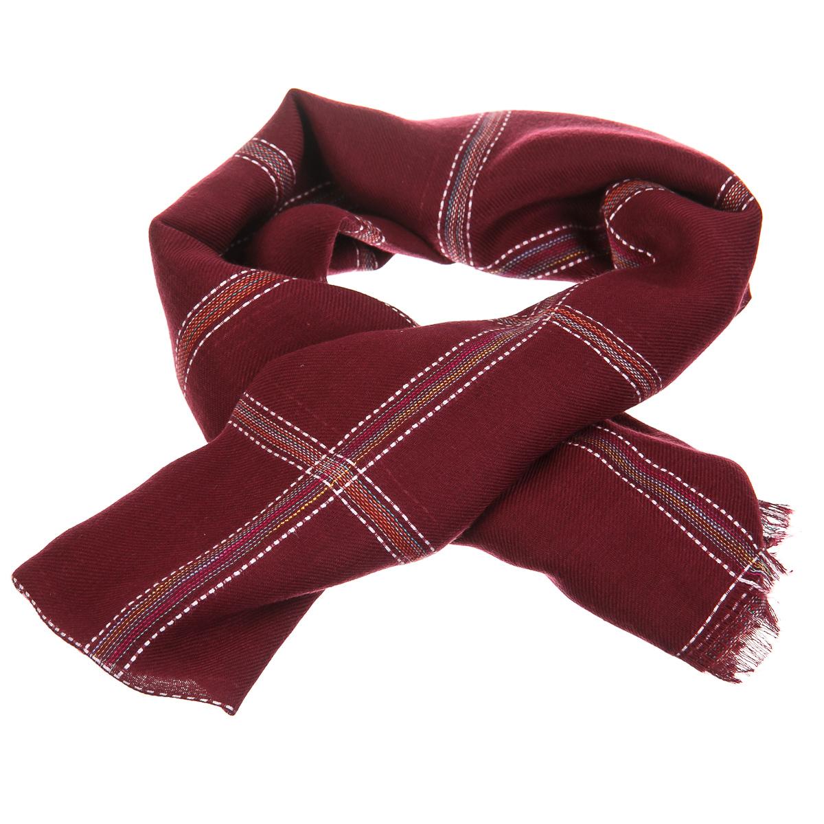 Шарф красный с разноцветными полосами