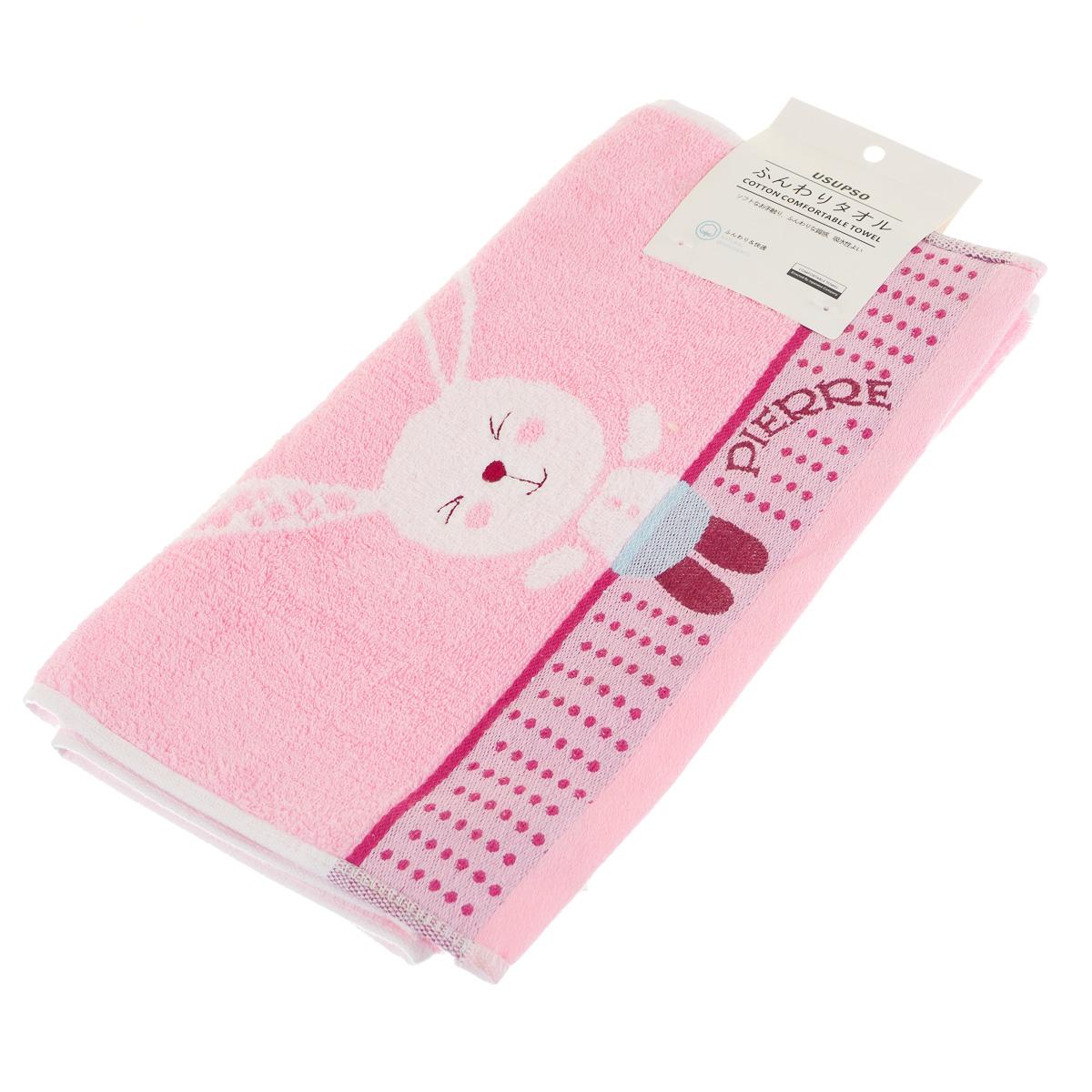 Полотенце детское с вышивкой Кролик розовое