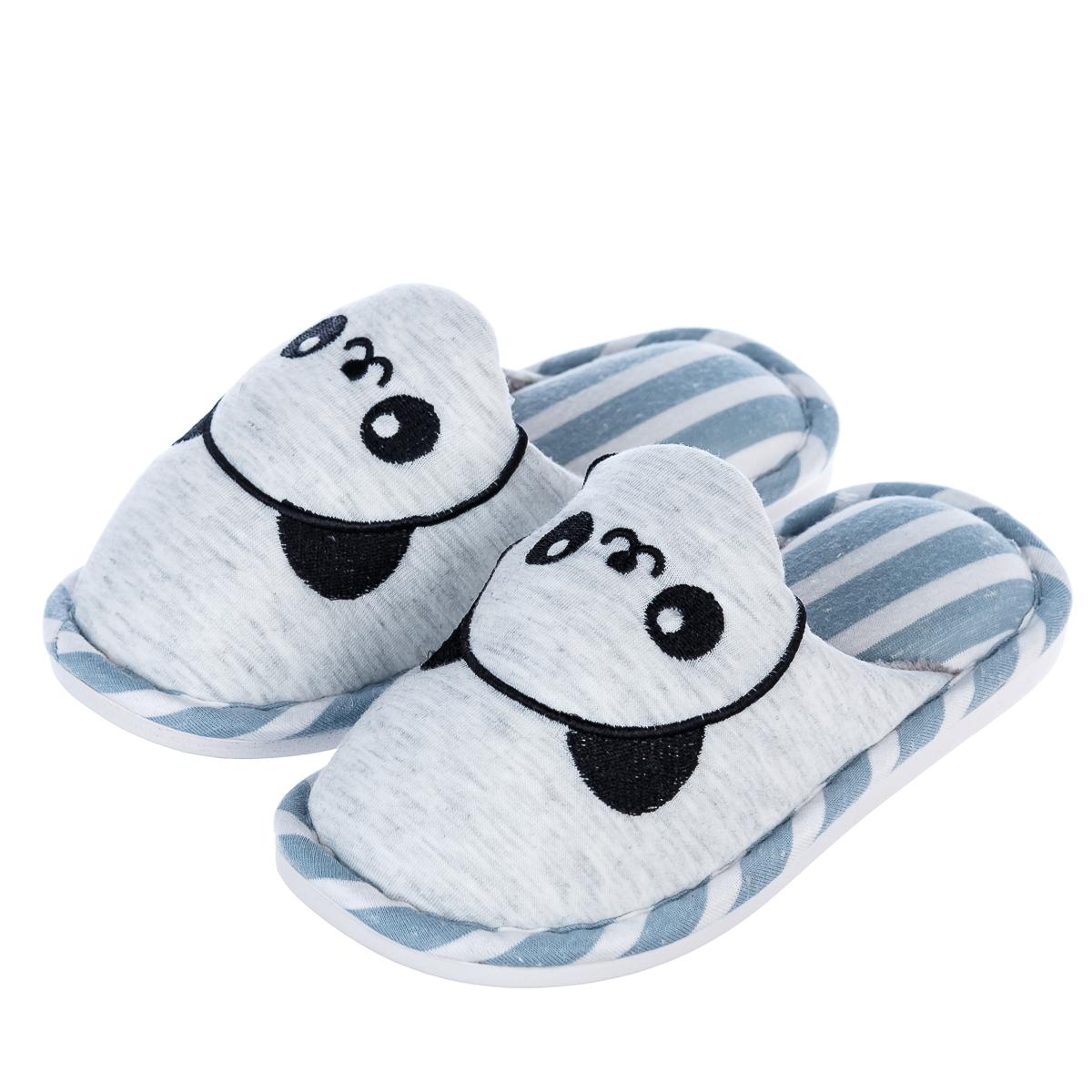 Тапочки детские с пандой домашние  р.27-28 серо-синие