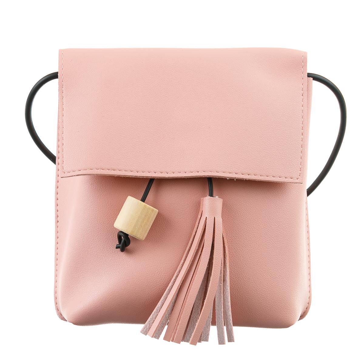 Сумка розовая с черным шнуром и розовой кисточкой