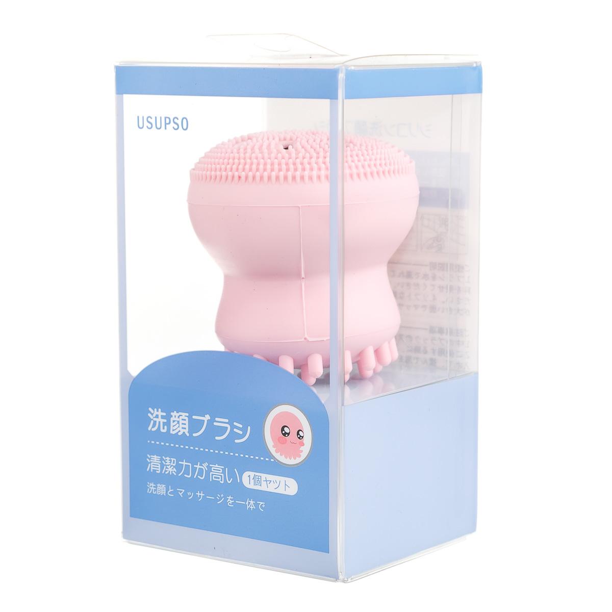 Щетка для лица для умывания осьминожек розовая