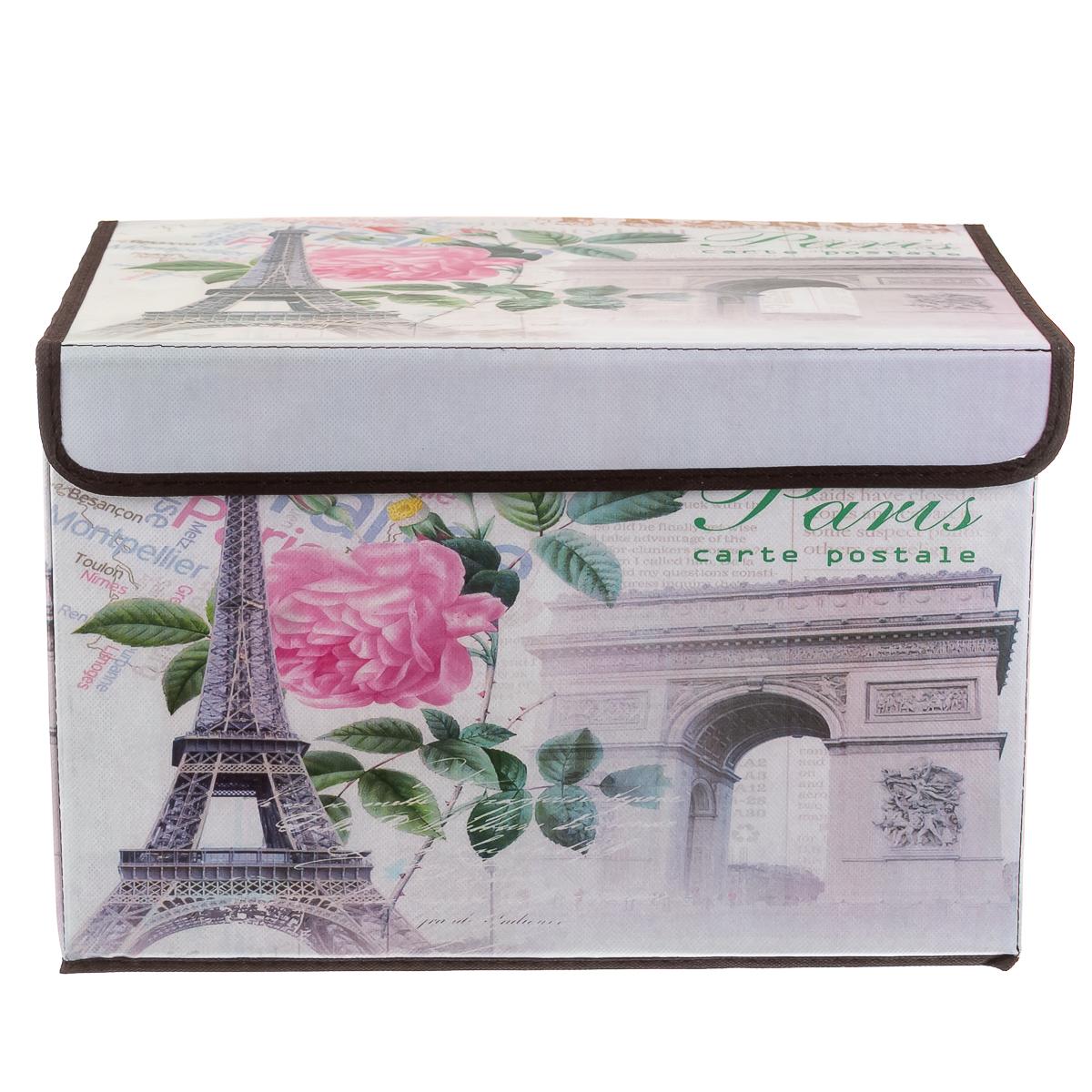 Коробка для хранения вещей большая, принт Париж.