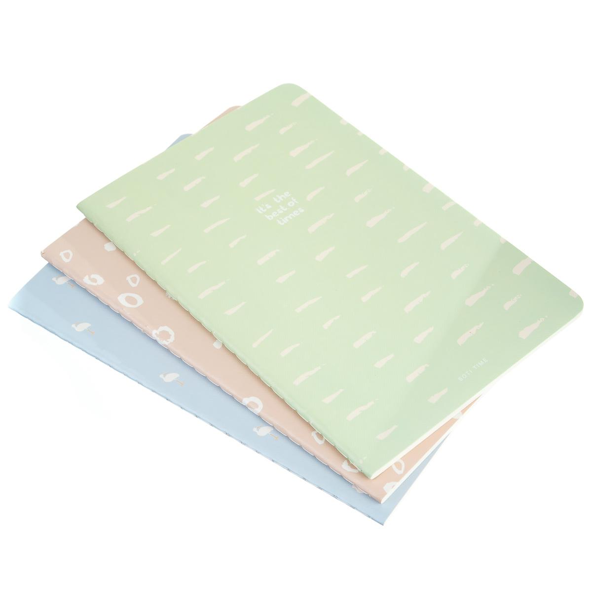 Тетрадь пастельного цвета в линию 38 листов 3 шт