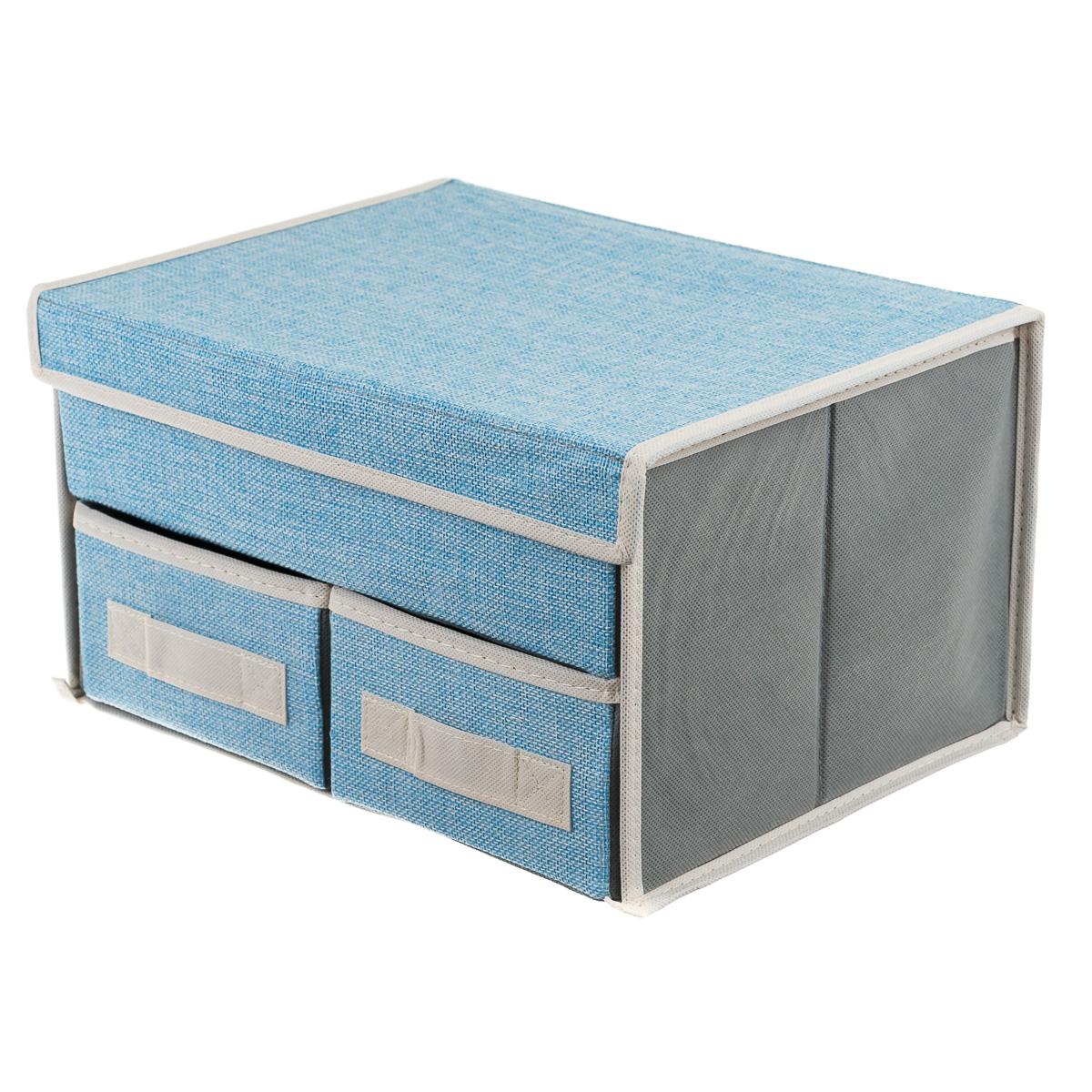 Коробка текстильная для хранения вещей, с 3 отделениями, голубая.