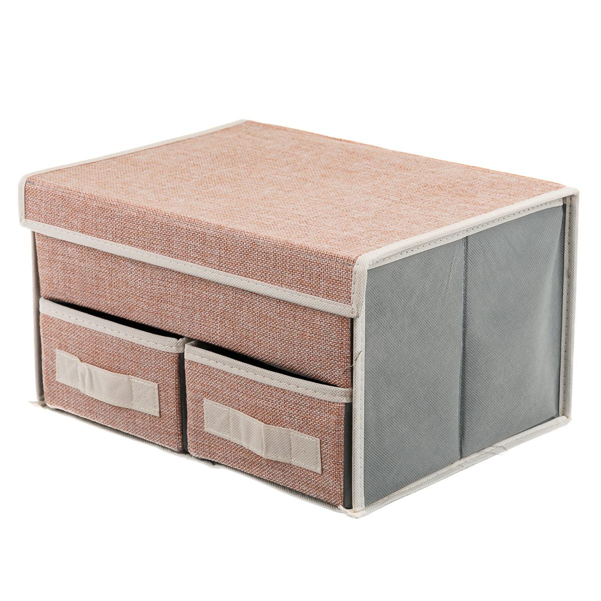 Коробка текстильная для хранения вещей, с 3 отделениями, розовая.