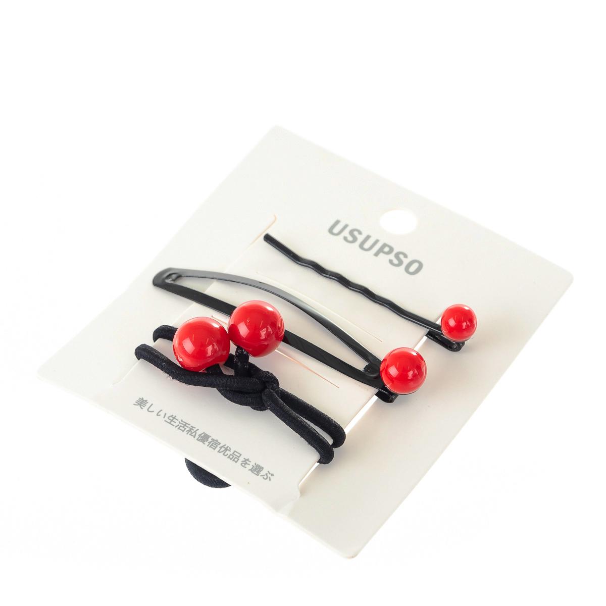 набір затиск для волосся, шпилька з червоним бісером арт.4711009117001
