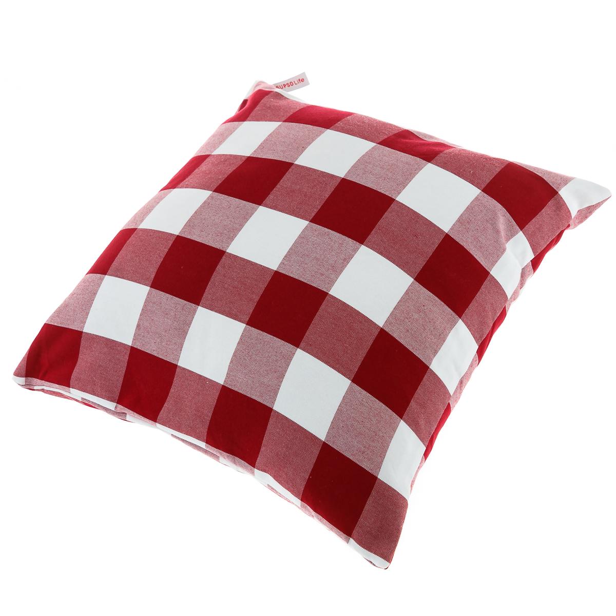 Подушка диванная, в крупную клетку, красная