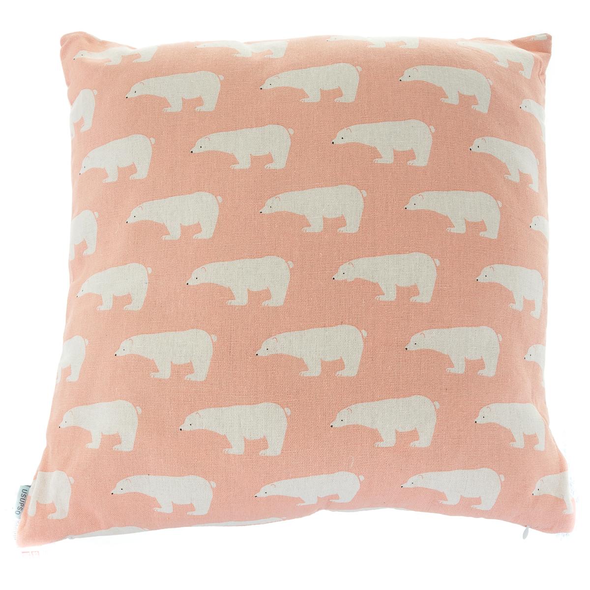 подушка диванна, лляна, з принтом білий ведмідь арт.4711068710009