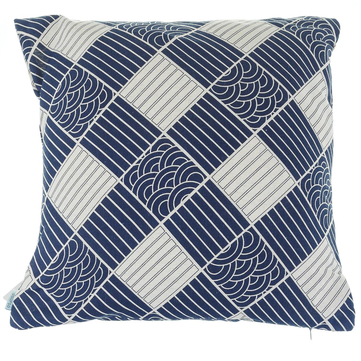 Подушка диванная, геометрический принт, синяя