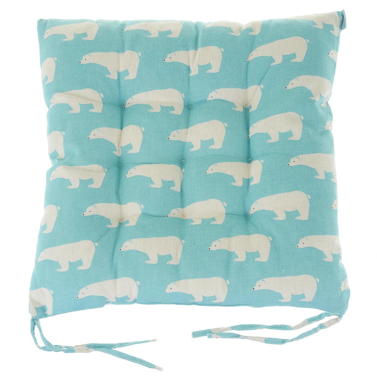 """Подушка для стульев льняная  """"медведи"""",  голубая"""
