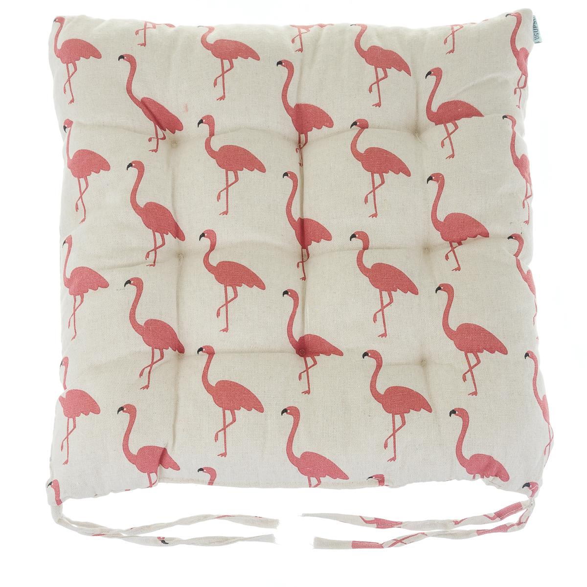 Подушка для стульев льняная фламинго белая