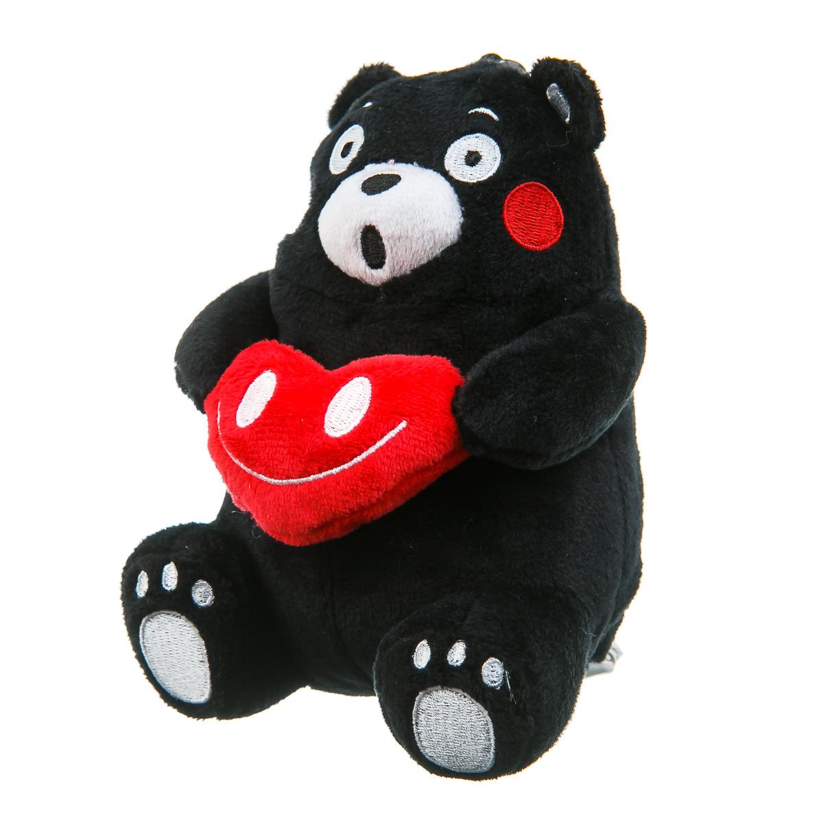 Мягкая игрушка медведь Кумамон с сердцем черный