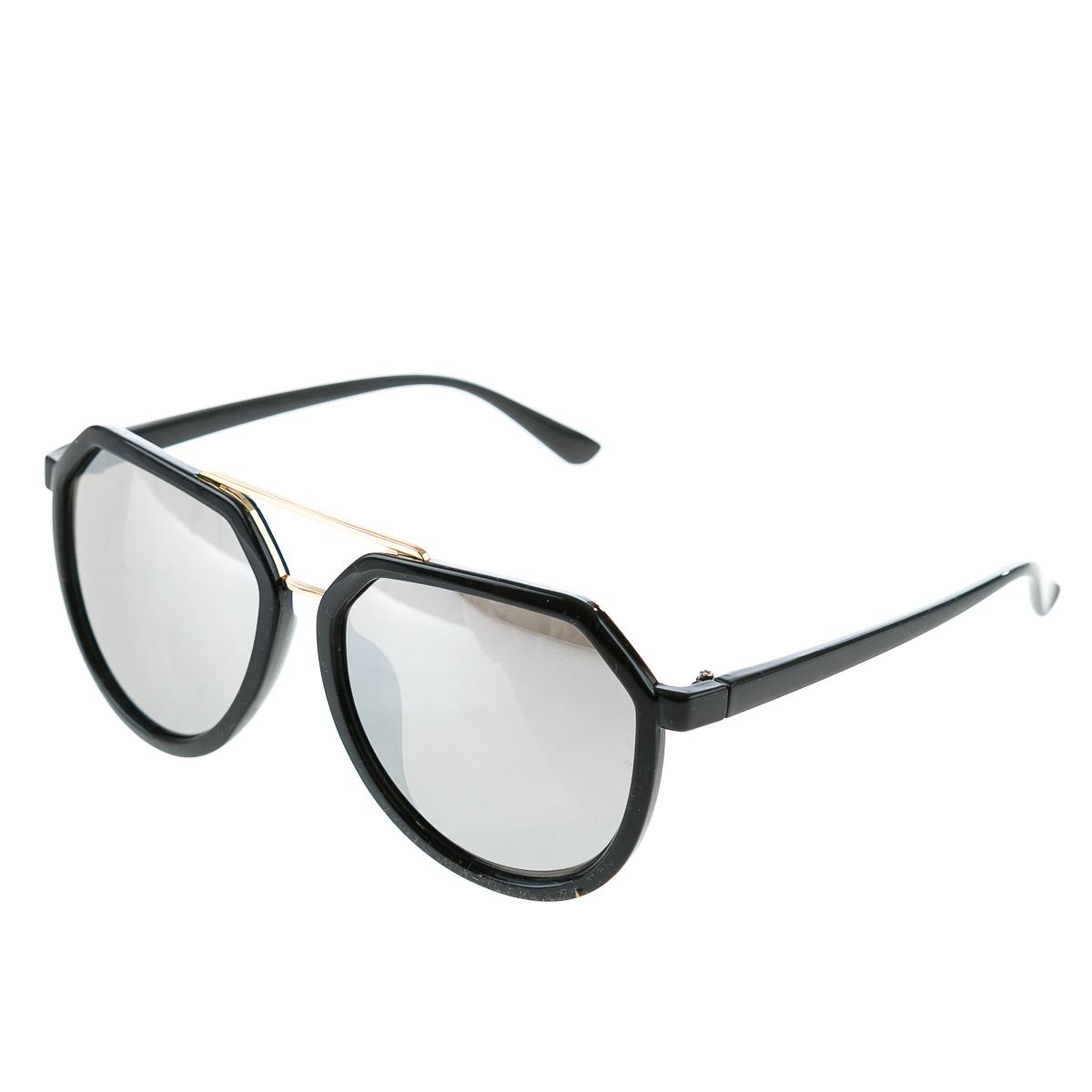 """Очки в черной оправе с серебристыми линзами для женщин, цвет черный, р-р 14"""""""