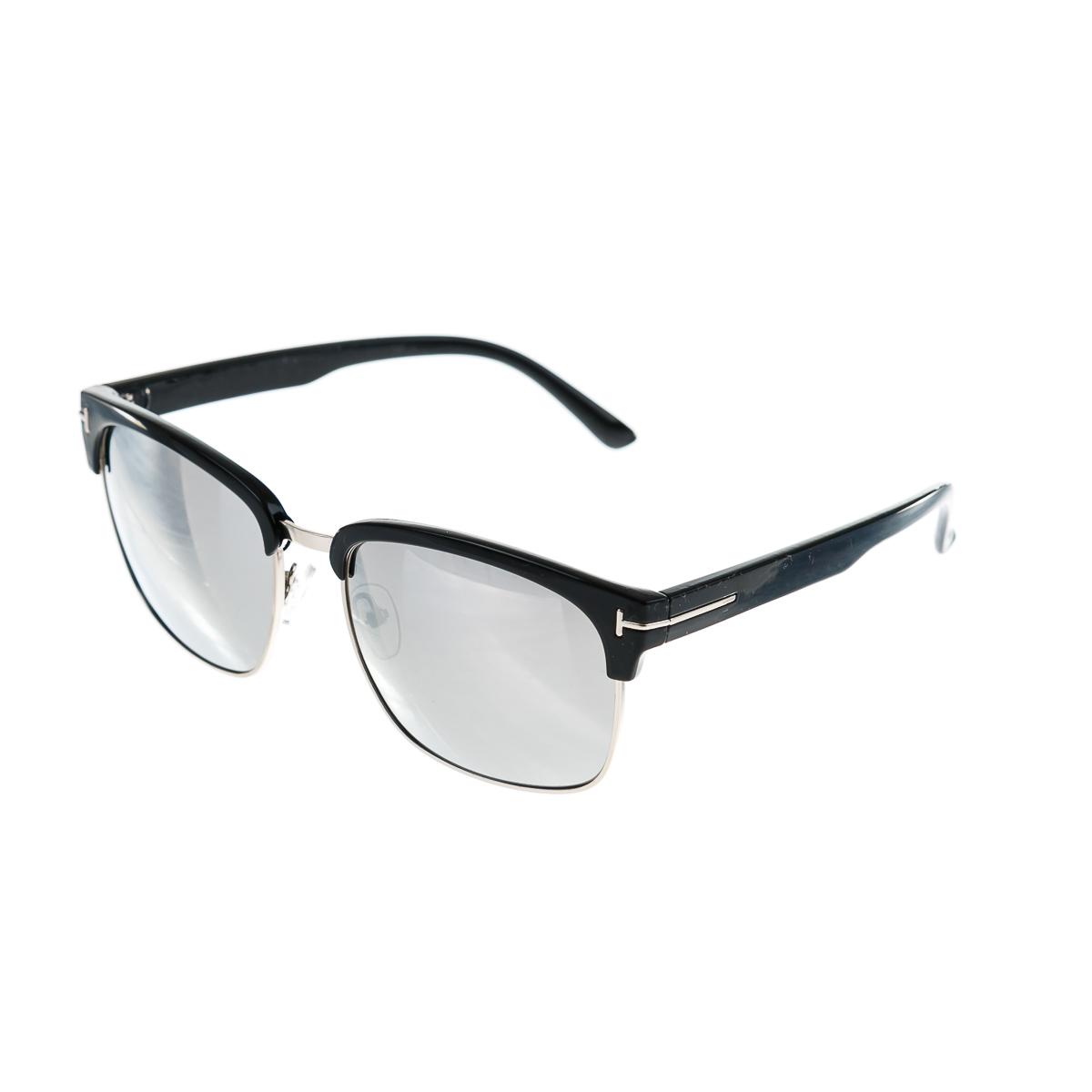 Очки в серебристой тонкой оправе с черными дужками с темным и прозрачным стеклом