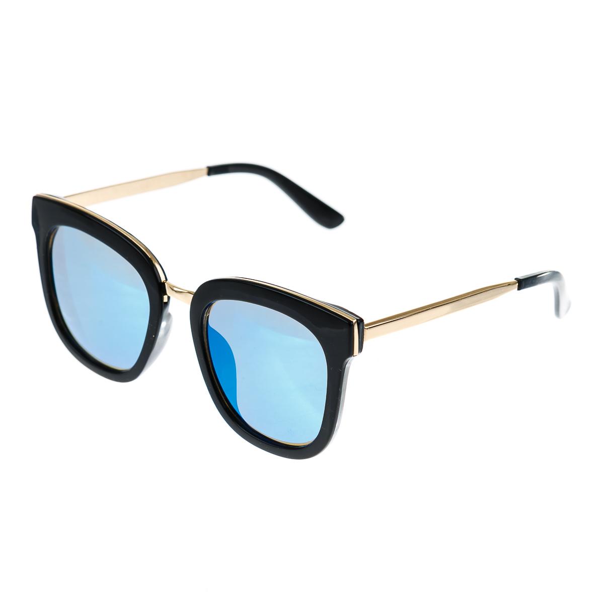 Очки в черной оправе с голубыми и коричневыми линзами с золотыми дужками простые