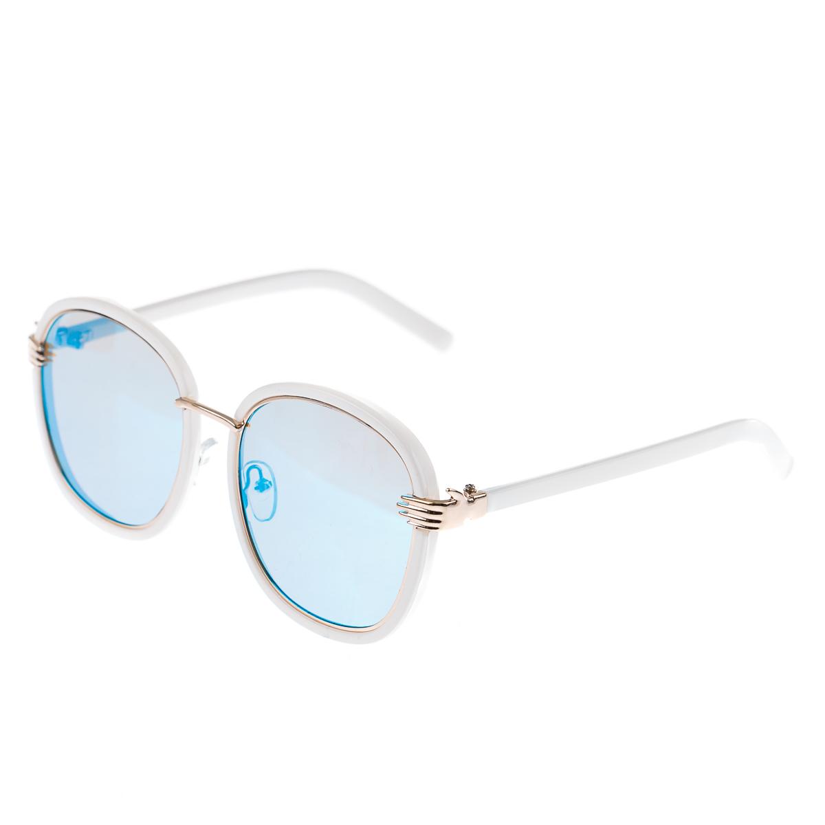 Очки с голубыми и розовыми линзами в бело-золотой оправе с белыми дужками (и руками у основания дуже