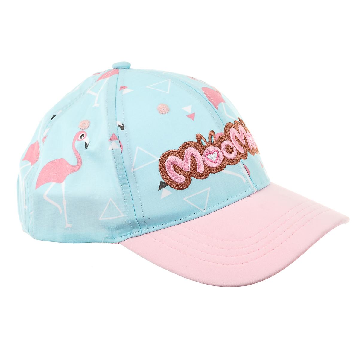 Кепка голубо-розовая с фламинго