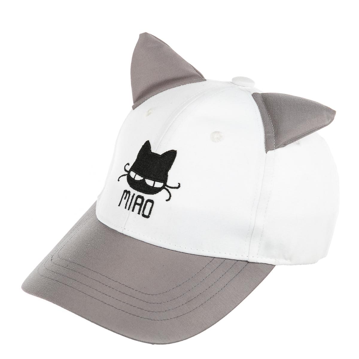 Кепка бело-сераяс котом и ушками